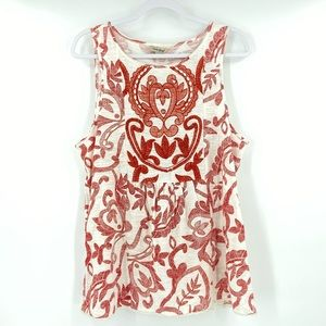 Lucky Brand Red Floral Print Cotton Tank Top L